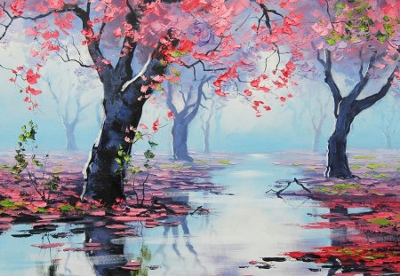 Painting - drawing, spring bossom reflections, art, artsaus