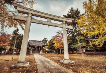 Japanese Shrine In The Fall