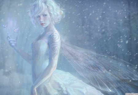 Winter Fairy - blue, cold, trees, tattoo, snow, fantasy, winter, fairy, butterflies