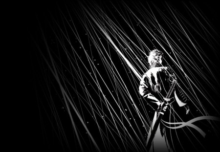 Vergil in Black & White - vergil, video game, cool, devil may cry