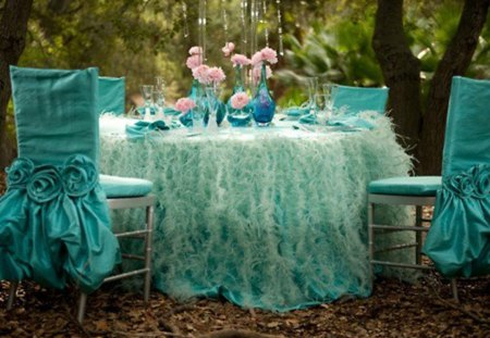 festive table - table, vases, cutlery, chairs, flowers, beautiful, tablecloth