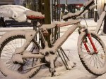 snow decked bicycle