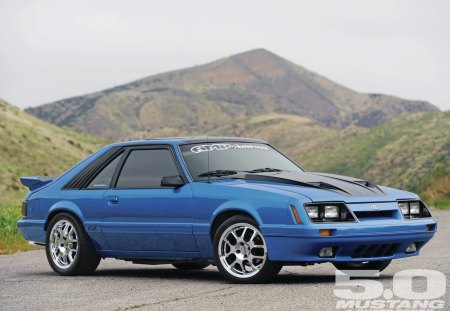 1986 Ford Mustang GT - blue, chrome wheels, mustang, ford