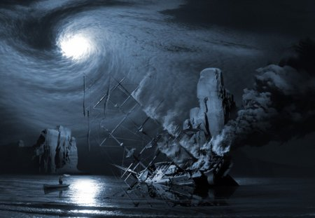 SHIP WRECKED - moon, night, wallpaper, ship wreck