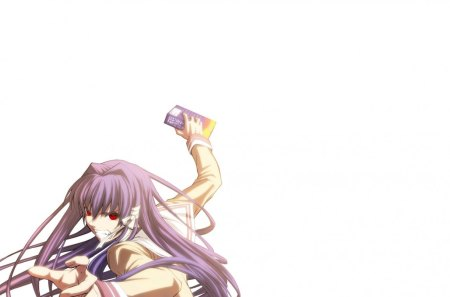 Clannad - Kyou Fujibayashi - red, ferocious, violence, long, book, clannad, sexy, angry, hair, girl, purple, anime, hot, eyes