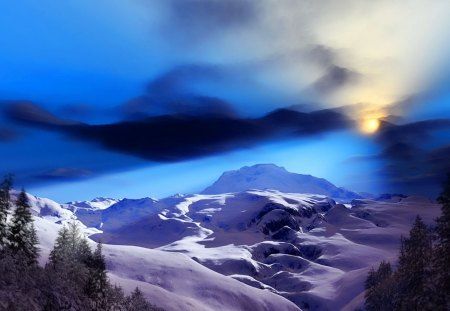 Winter's day - fir trees, snow, mountains, sky, blue