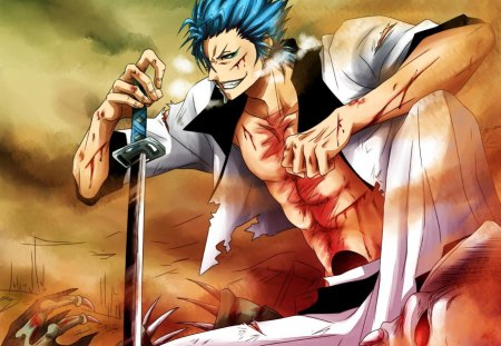 Grimmjow Jeagerjaques - bleach, male, scar, espada, blue hair, spiky hair, blade, anime, katana, grimmjow jeagerjaques, arrancar, weapon, grimmjow, blue eyes, sword, wounds