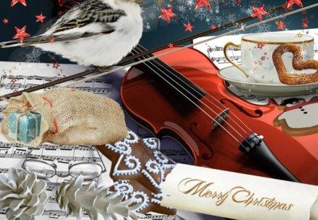 Christmas Violin.Christmas Violin 3d And Cg Abstract Background