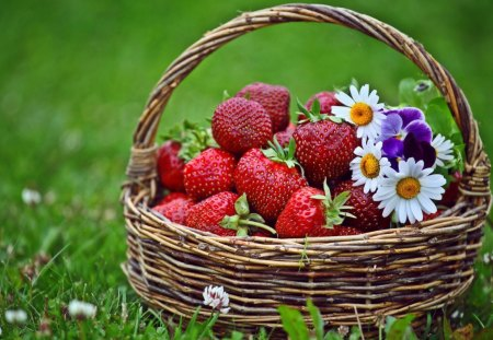 Basket of Strawberries and Flowers