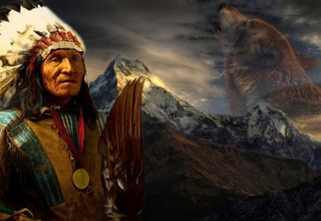 an Indian chief - wol, redhead, wariors, mountains, an indian chief, native, wolf, indians, feathers, style