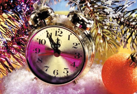 New year time - colorful, candles, christmas, balls, new year, midnight, holiday, lights, mood, clock, nice, santa, decoration, beautiful, lovely, snow, time, pretty