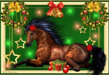 A Horse For Christmas - ornaments, feliz navidad, christmas, holiday, equine, ribbons, horse, bows, happy, winter, merry, nature, animals, celebrate
