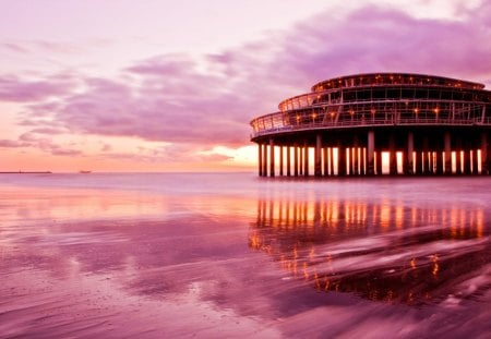 spectacular pier restaurant and casino - pier, clouds, pink, sea, beach