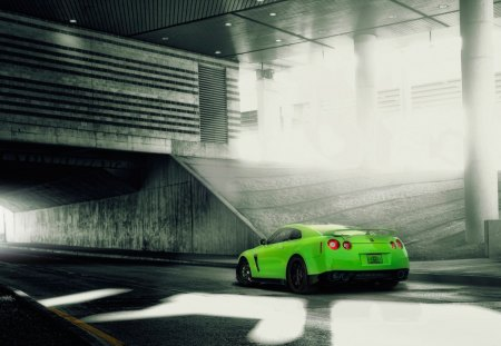 Nissan G T R - sports car, lime green, nissan, black wheels