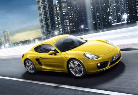 Porsche Cayman S - hd, exotic, yellow, 2013, speed, city, cool, porsche, car, 1080p, cayman, road