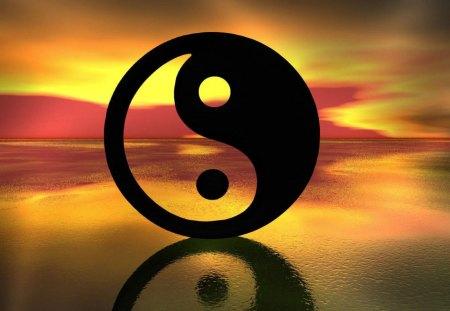 Ying Yang - sunset, ocean, black, ying yang