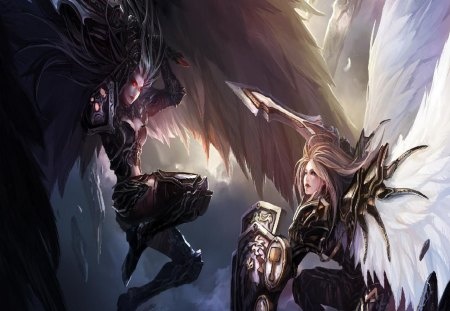 Angel Battle - weapons, white wings, black wings, angels, armour