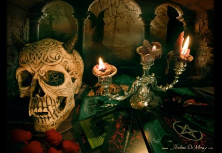 Skull Candles And Tarot Fantasy Abstract Background Wallpapers