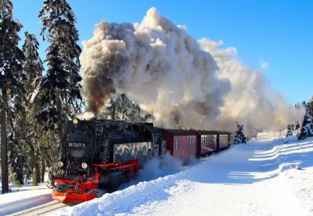 Vintage Train in Winter Countryside