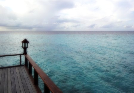 terrace over wide sea - horizon, clouds, sea, terrace
