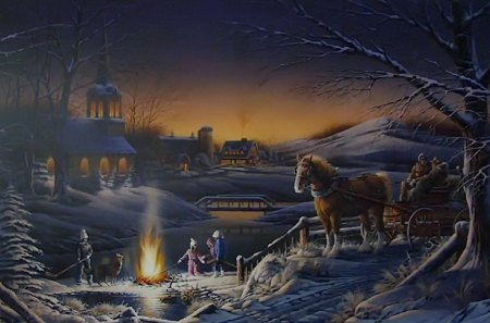 Sharing the evening - pretty, house, cottage, fiery, cabin, beautiful, sunset, picnic, nice, people, darkness, painting, river, evening, night, share, lovely, romantic, sky, horse, winter, lake, fire, water, warmth, snow, vollage
