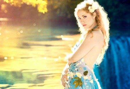 Miss Sunshine - stream, pretty, wonderful, stunning, sun, marvellous, adorable, women, nice, outstanding, wallpaper, waterfall, beauty, super, trees, miss sunshine, awesome, sunshine, great, beautiful, woman, sea, picture, people, girls, forest, amazing, female, model, fantastic, girl, skyphoenixx1, nature