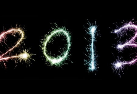 2013 - colorful, fireworks, sparkle, happy, year, black, new year