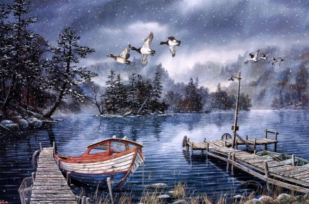 Painting - art, boat, nature, painting