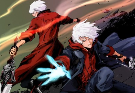 Dante & Nero - games, swords, dante, male, white hair, nero, video games, devil may cry, weapons, trench coat, anime, dmc