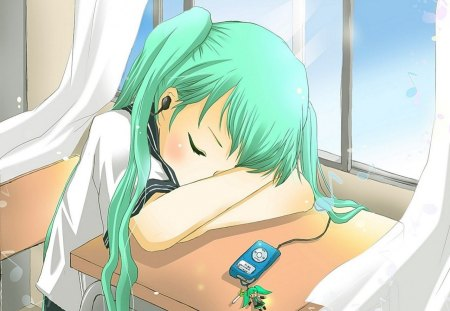 sleeping in class - ipod, vocaloid, keychain, window, hatsune miku, music, curtains, manga, anime, school uniform