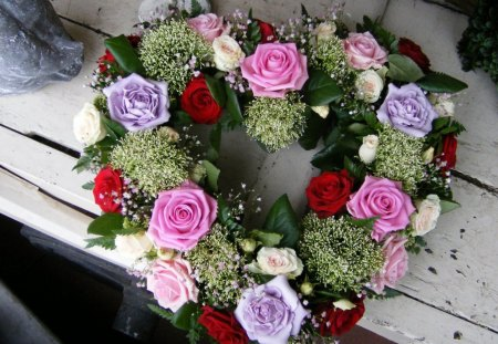 •✿• Heart Tribute •✿• - red, wreath, wonderful, lavender, beautiful, sweet, heart shape, green, love, forever, pink, cut, lovely, fresh, roses, merry christmas, heart, entertainment, fashion