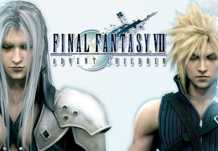 Final Fantasy VII: Advent Children - ff7, games, cloud, final fantasy 7, advent children, final fantasy vii, white background, cloud strife, anime, sephiroth