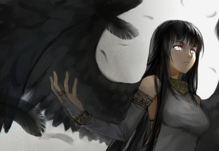 Morrighan - white eyes, games, female, wings, angel, video games, morrighan, long hair, feathers, mabinogi