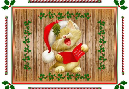 HAVE A HOLLY, JOLLY CHRISTMAS! - decorative border, holly, christmas, greetings
