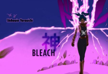 Goddess of Flash - bleach, purple background, female, electricity, shihouin yoruichi, lightning, yoruichi, anime, yoruichi shihouin, lone