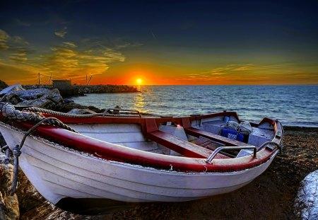 RESTING BOAT at DUSK - sunset, sea, rest, shore, boat