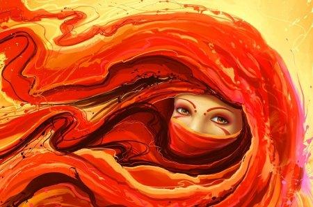 Red Fantasy - women, cg, fantasy, red