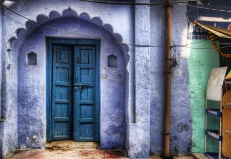 beautiful blue doors hdr - house, hdr, entrance, doors