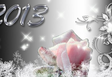 Frosty 2013 - silver, frosty, cold, rose, frost, winter, happy, stars, ice, new year, shine, 2013, sparkle