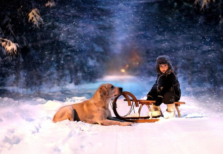 Winter - snow, nature, winter time, child, road, snowy, dog, winter