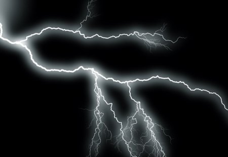Black lightning - hd, thunder, black and white, black, sky, forces