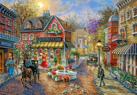 By Nicky Boehme - painting, art, nicky boehme, city
