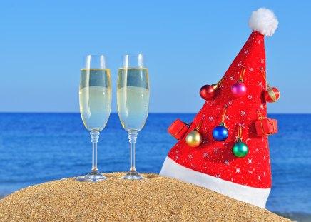 Merry Christmas - christmas, photography, magic, balls, christmas ball, new year, holiday, glasses, glass, xmas, sea, sky, magic christmas, merry christmas, decorations, sand, happy holidays, christmas decoration, ball, decoration, wine, beauty, champagne, beautiful, lovely, pretty, holidays, beach, happy new year