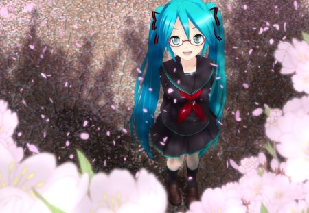 Hatsune Miku - vocaloid, hatsune miku, glasses, cherry blossoms, cherry petals, girl, blue hair, anime, anime girl, blue eyes, school uniform