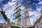 mighty sail ships docked hdr