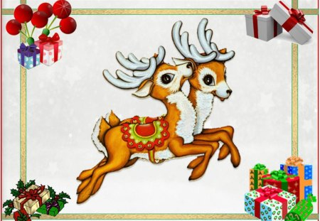 SANTA'S LITTLE HELPERS TAKE A BREAK! - merry christmas, santas helpers, parcels, two reindeers