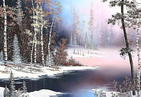 Winter - art, snow, painting, nature, river
