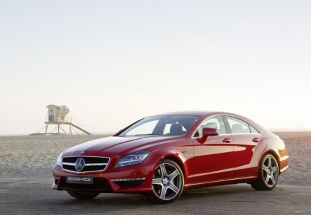 Red Mercedes Benz CLS63 AMG - benz, red, cls63, amg, mercedes