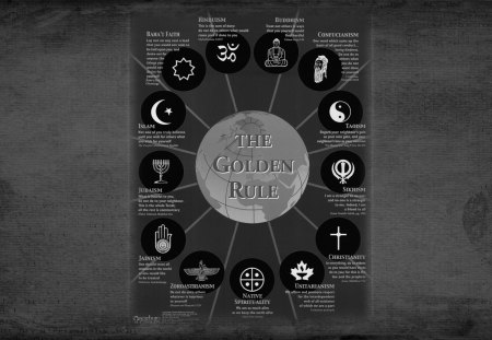 the golden rule of religions - christianity, humanity, hinduism, sikhism, peace, religion, bahai, islam, buddhism, wallpaper, taoism, love, judaism, earth, native spirituality