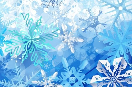 Flakes - pretty, flakes, snow, snowflakes, white, blue, winter
